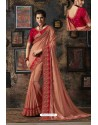 Peach Fancy Dola Silk Party Wear Saree