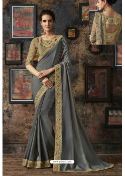 Grey Dola Silk Party Wear Saree