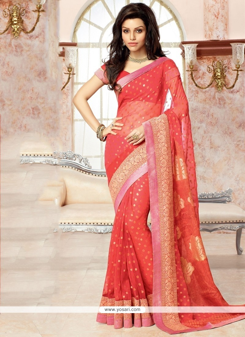Phenomenal Patch Border Work Red Faux Chiffon Casual Saree