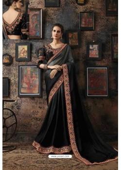Black Fancy Georgette Silk Party Wear Saree