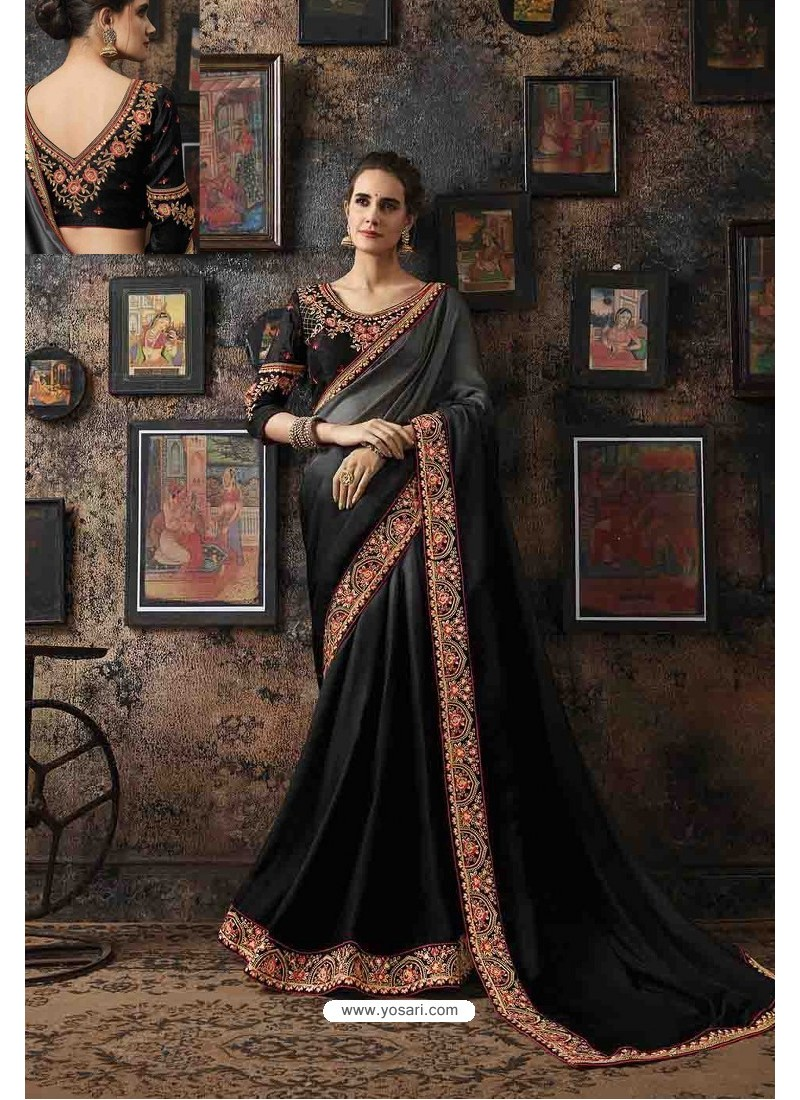 Black Fancy Georgette Silk Party Wear Saree