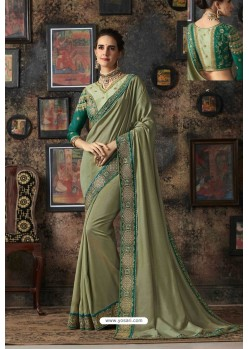 Olive Green Vichitra Silk Party Wear Saree
