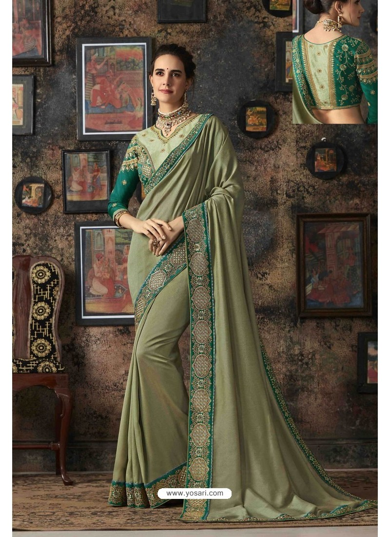 Olive Green Vichitra Silk Party Wear Saree