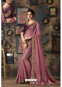 Old Rose Fancy Georgette Silk Party Wear Saree