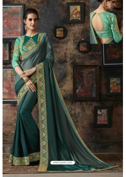 Teal Fancy Georgette Silk Party Wear Saree