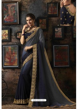 Grey And Blue Fancy Georgette Silk Party Wear Saree