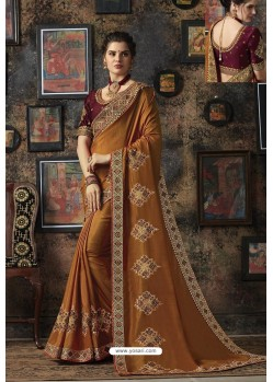 Mustard Dola Silk Party Wear Saree
