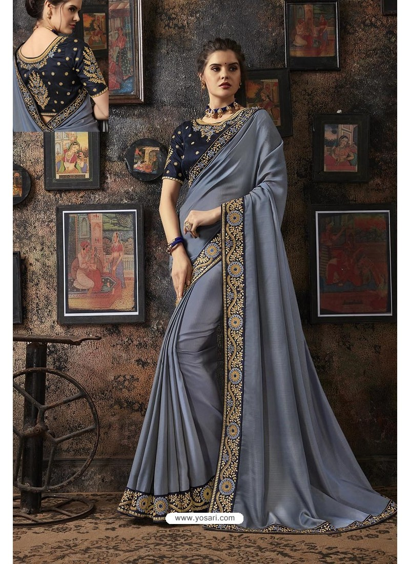 Grey Fancy Georgette Silk Party Wear Saree