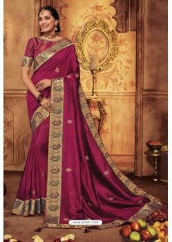 Deep Wine Silk Stone Worked Party Wear Saree