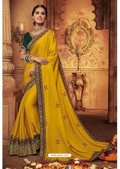 Yellow Silk Stone Worked Party Wear Saree