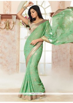 Superb Brasso Georgette Green Print Work Casual Saree