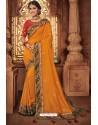 Orange Silk Stone Worked Party Wear Saree