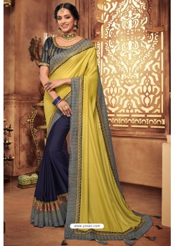 Lemon And Navy Silk Stone Worked Party Wear Saree