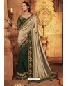 Light Beige And Green Silk Stone Worked Party Wear Saree