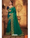 Teal Silk Stone Worked Party Wear Saree