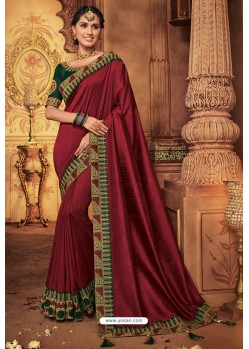 Maroon Silk Stone Worked Party Wear Saree