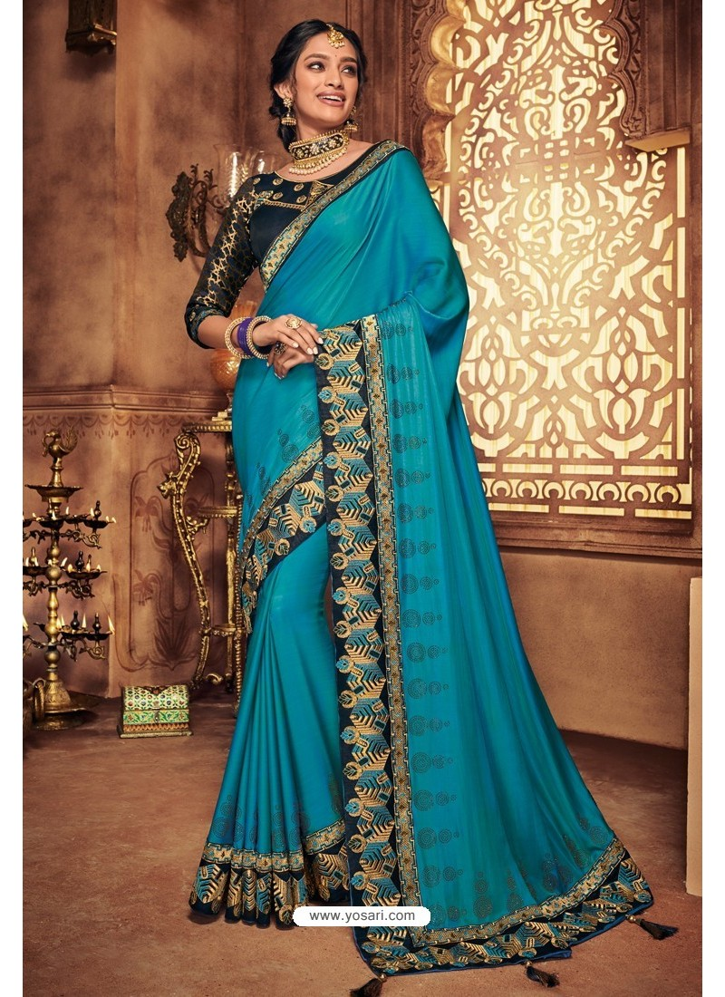 Turquoise Silk Stone Worked Party Wear Saree