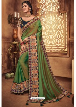 Mehendi Silk Stone Worked Party Wear Saree