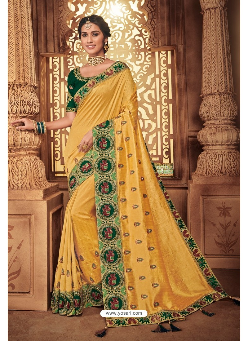 Yellow Silk Stone Worked Party Wear Saree
