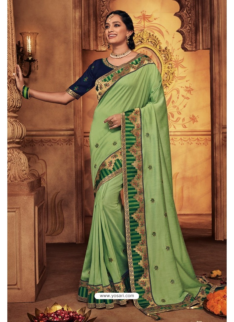 Green Silk Stone Worked Party Wear Saree