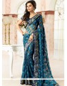 Glowing Print Work Brasso Georgette Casual Saree