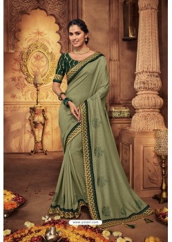Olive Green Silk Stone Worked Party Wear Saree