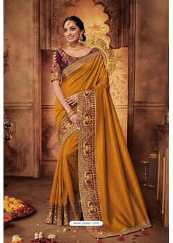 Mustard Silk Stone Worked Party Wear Saree