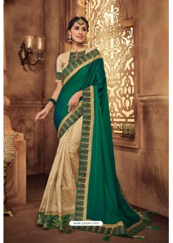 Dark Green And Beige Silk Stone Worked Party Wear Saree