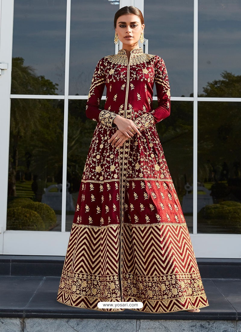 Maroon Mulberry Silk Embroidered Floor Length Suit