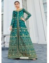 Teal Mulberry Silk Embroidered Floor Length Suit