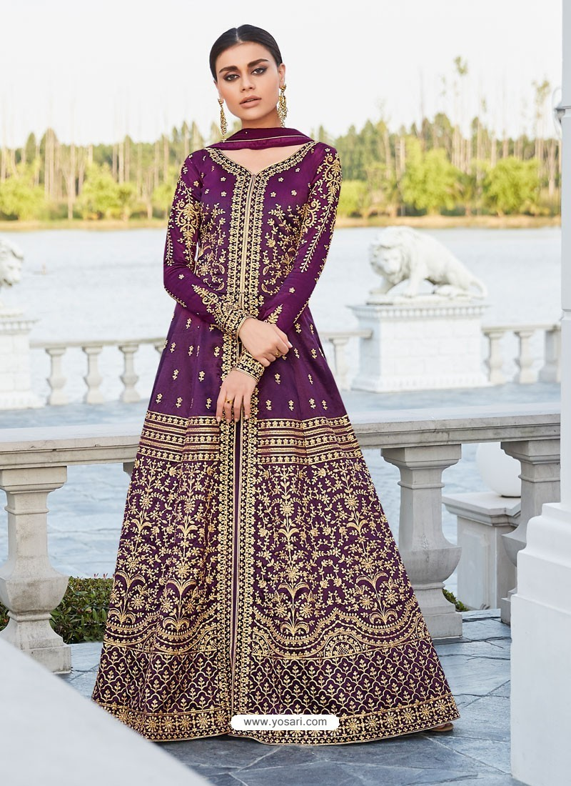 Purple Mulberry Silk Embroidered Floor Length Suit
