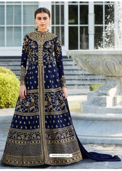 Navy Mulberry Silk Embroidered Floor Length Suit