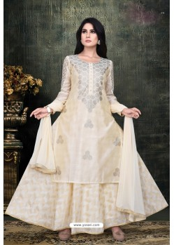 Cream Banarasi Chanderi Designer Suit