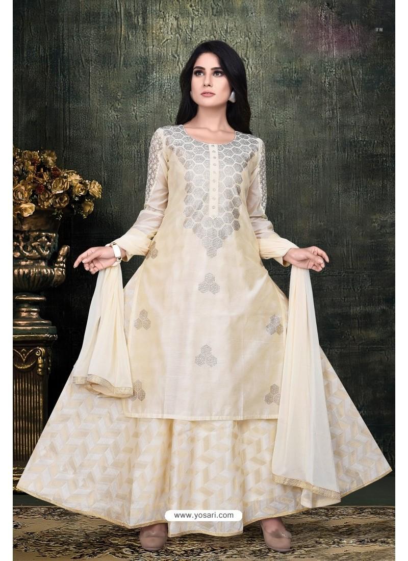 Cream Banarasi Chanderi Designer Suit