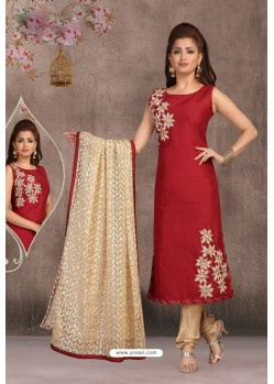 Maroon Chanderi Slub Embroidered Designer Suit