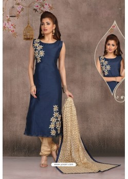 Navy Blue Chanderi Slub Embroidered Designer Suit
