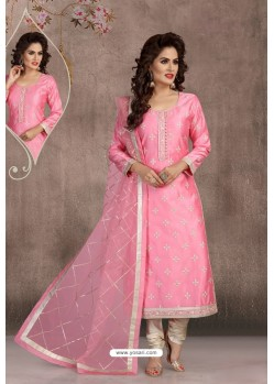 Pink Chanderi Silk Embroidered Designer Suit