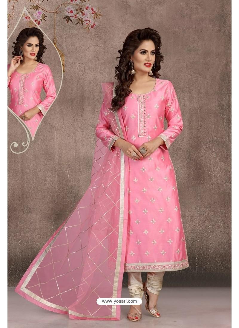 Pink Chanderi Silk Embroidered Designer Suit
