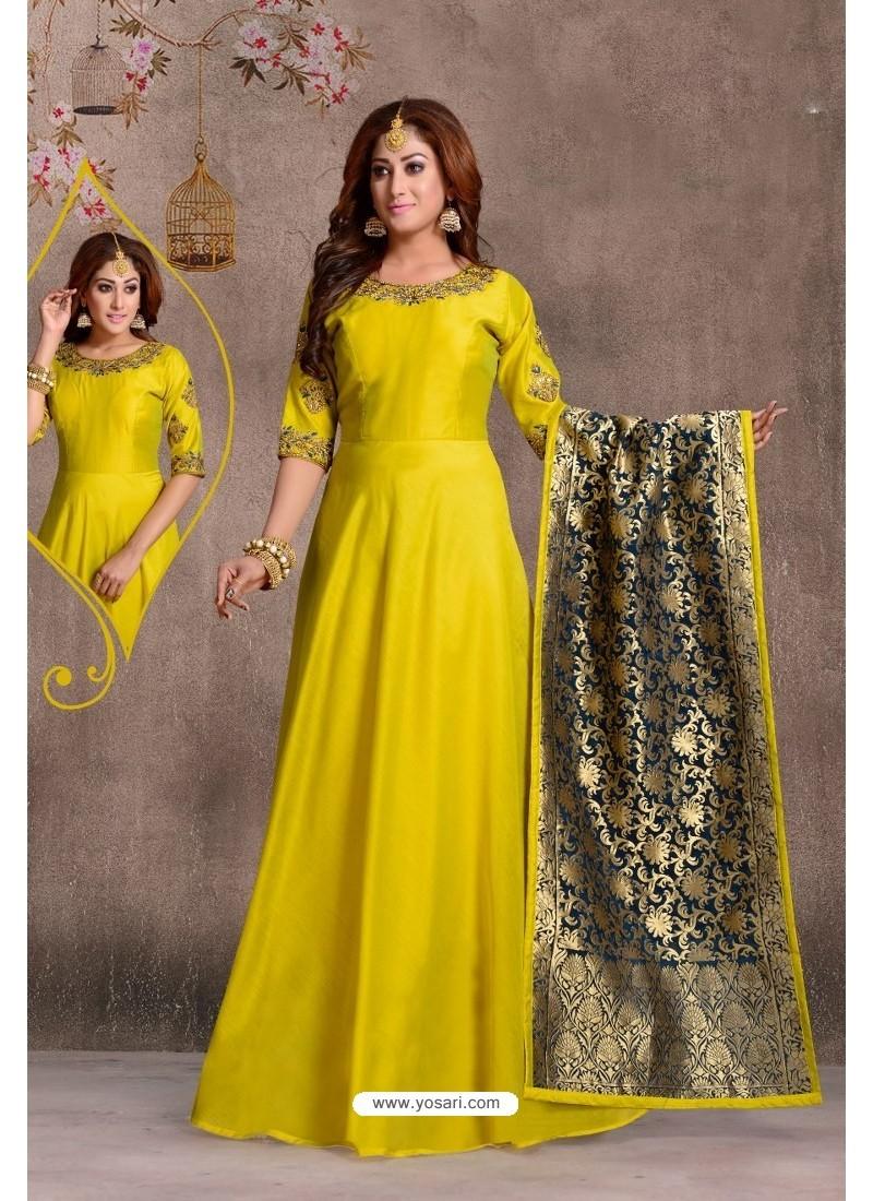 Corn Chanderi Silk Hand Worked Designer Suit