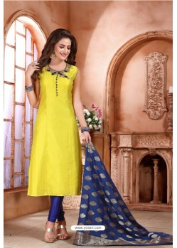 Lemon Tafetta Embroidered Designer Suit