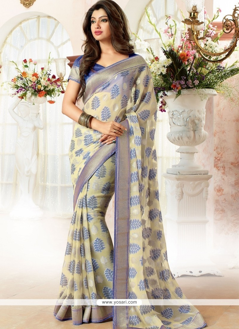 Floral Cream Casual Saree
