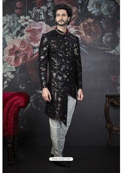 Black Readymade Designer Indowestern Sherwani For Men