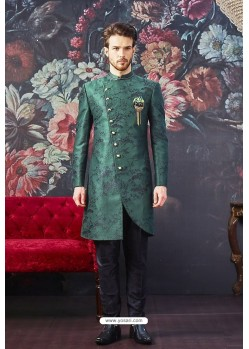 Aqua Mint Readymade Designer Indowestern Sherwani For Men