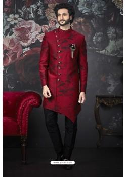 Red Readymade Designer Indowestern Sherwani For Men