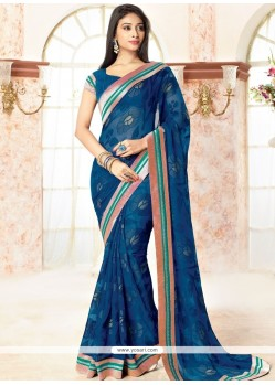 Prepossessing Blue Print Work Brasso Georgette Casual Saree