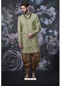 Green Readymade Designer Indowestern Sherwani For Men
