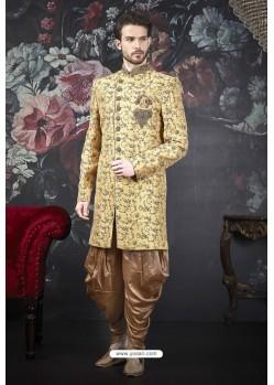 Mustard Readymade Designer Indowestern Sherwani For Men