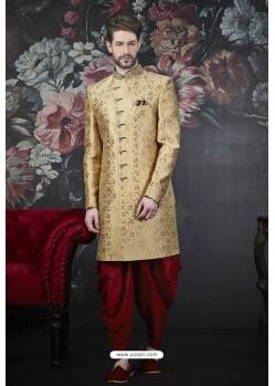 Gold Readymade Designer Indowestern Sherwani For Men