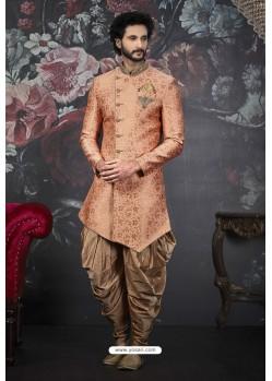 Light Red Readymade Designer Indowestern Sherwani For Men