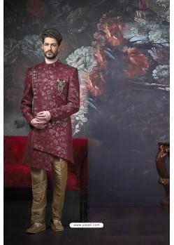 Deep Wine Readymade Designer Indowestern Sherwani For Men
